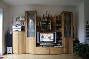 Wohnzimmer Schrankwand aus Massivholz Buche