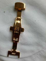 Butterfly-faltschließe Edelstahl-Gold 14mm poliert Lederarmband