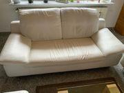 Ledercouch 2-Sitzer weiß Füße Metall