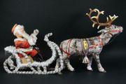 Mechanische Weihnachtsfigur Weihnachtsschlitten Weihnachtsmann 1950er