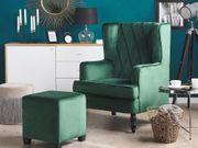 Sessel Samtstoff grün plus Hocker
