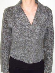 Jeansjacke mit Leopardenmuster Gr 36