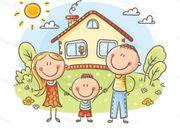 Jungfamilie auf Haussuche