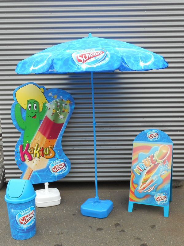 Sonnenschirm - Werbeschild, Werbeaufsteller, » Gastronomie, Ladeneinrichtung