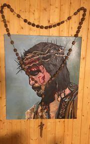 Christuskopf mit Rosenkranz
