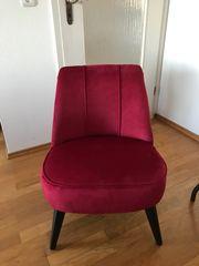 Samt Sessel Weinrot
