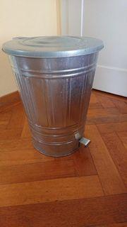 Zink Mülleimer Metall mit Klappdeckel