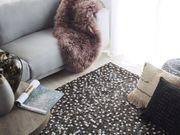 Teppich Kuhfell braun silber 160