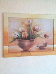 Designer Wandbild Tulpen Gemälde beige
