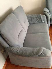 Couchgarnitur - hellblau - gebraucht 2 3