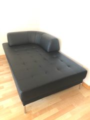 Liege-Sofa flexible Rückenlehne Kunstleder Schwarz