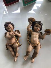 Zwei Antike Holz Engel handgeschnitzt