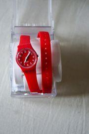 Swatch Armbanduhr rot Damen mit
