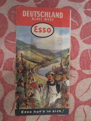 Landkarte Straßenkarte ESSO Deutschland 1956