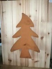 Holz Dekobrett mit Edelrost Tannenbaum