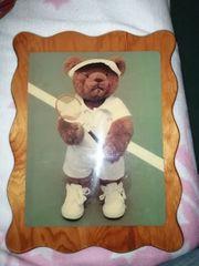 Holzbild Bär als Tennisspieler 20 -