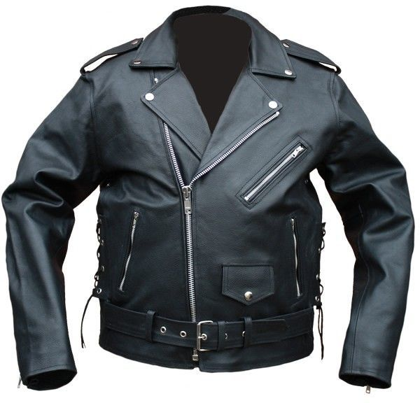 Motorradjacke Leder Chopper schwarz seitlich
