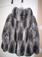 Chinchilla-Jacke mit Kapuze Gr 38 -