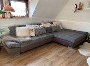 Ecksofa Couch grau braun