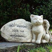 Grabdeko Stein Katzenfigur und Gravur