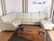 Natur Leder Couch Toulouse weiß