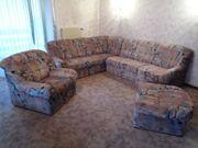 Ecksofa Couch L-Form Sessel Hocker - Wohnlandschaft Sitzgarnitur