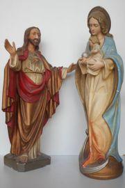 2 große antike Heiligenfiguren - beschädigt -