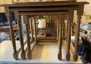 3 Beistelltische Wohnzimmer Nussbaum