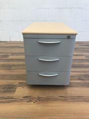 Rollcontainer Bürocontainer grau buche