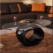 Couchtisch mit ovaler Glasplatte Hochglanz