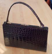 Schwarze Krokodilleder Handtasche 32 x