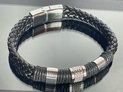 Herren Leder-Armband schwarz-silber Magnetverschluss