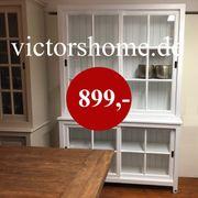 Weisse Landhausvitrine Glasschrank Glasregal 150
