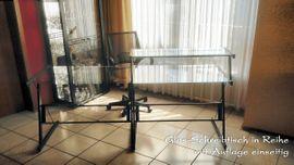 Büromöbel - Variabler Glas-Schreibtisch Doppeltisch Ablage Eckelement