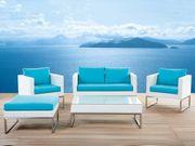 Lounge Set Rattan weiß 5-Sitzer