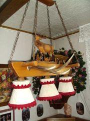 Lampe mit Hirschgeweih