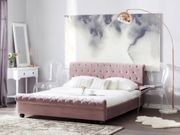 Bett Samtstoff rosa Lattenrost 160