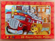 Rahmen-Puzzle Comic Feuerwehr Hund Katze