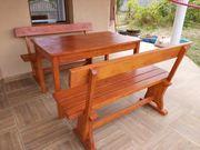 Holz Sitzgruppe 4 x Holzbänke