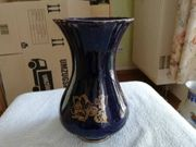 Vase- Glas kobaltblau mit Rosenmotiv