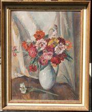 Antik Gemälde Ölbild Blumen Stillleben
