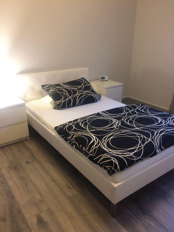Weisses Lederoptik Bett Inkl Lattenrost Und Matratze 120x200 Cm In