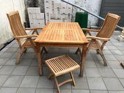 Teakholz Gartenmöbel - Tisch 2 Stühle
