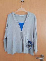 Kapuzenpullover grau blau 44 46