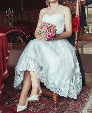 Brautkleid Hochzeitskleid kurz mittellang Größe
