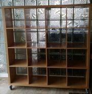 Regal Raumteiler auf Rollen Buche