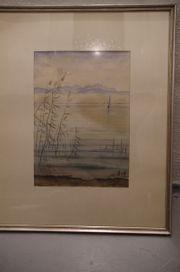 Gemälde Segel See Ufer im