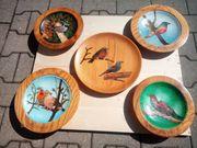 5 Stück Holzteller bemalt mit