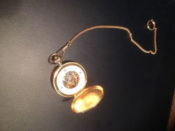 Taschenuhr mit Tragekette vergoldet Skelettuhr