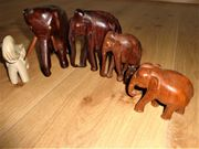 Alte Elefantensammlung 6 Elefanten Holzelefanten